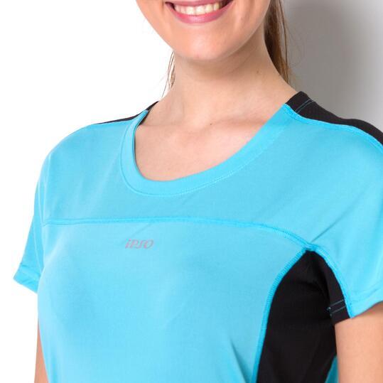 Camiseta Running IPSO COMBI Celeste Negro Mujer