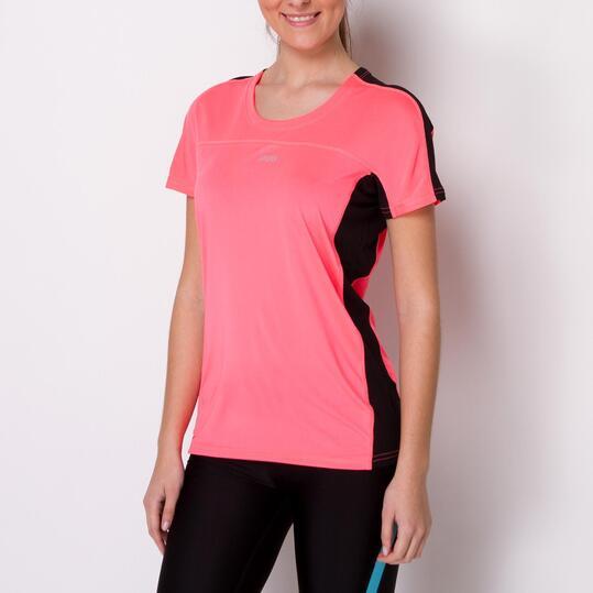 Camiseta Running IPSO COMBI Rosa Negro Mujer
