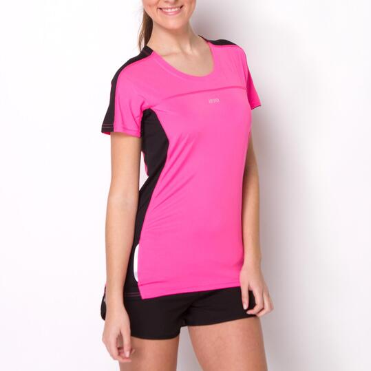 Camiseta Running IPSO COMBI Fucsia Negro Mujer