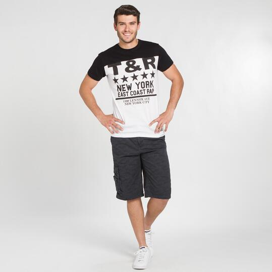 Camiseta Negra Blanca TRUNK&ROOTS Hombre