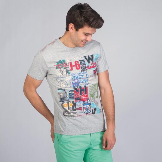 Camiseta Manga Corta TRUNK & ROOTS Gris Hombre