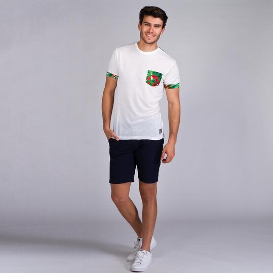 Camiseta Manga Corta TRUNK & ROOTS Blanco Verde Hombre