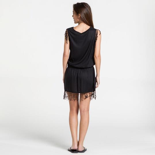 Vestido Flecos TRUNK&ROOT Negro Mujer