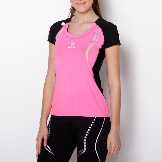 Camiseta Running IPSO REFLECTIVE Rosa Negro