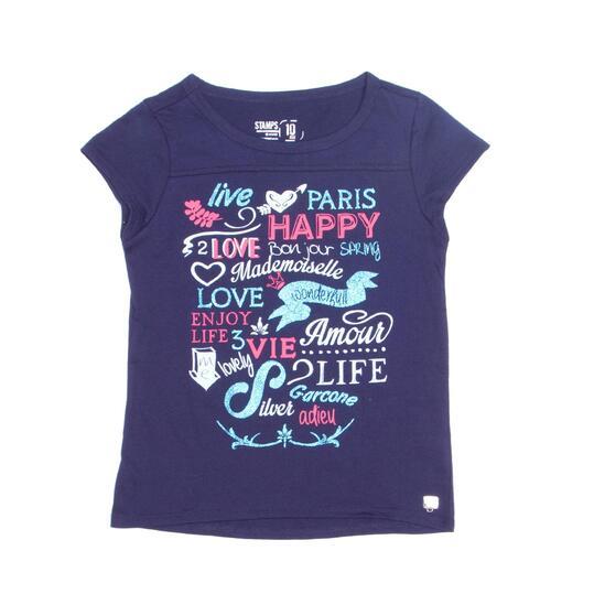 Camiseta Manga Corta SILVER STAMPS Marino Niña