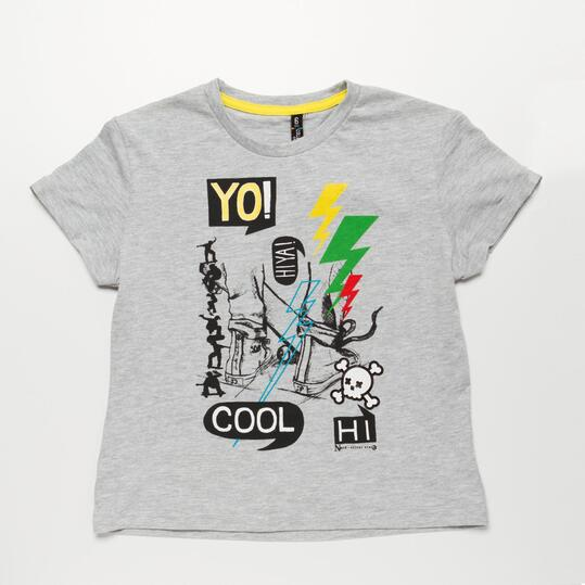 Camiseta Manga Corta SILVER PATINADORES Gris Niño (2-8)