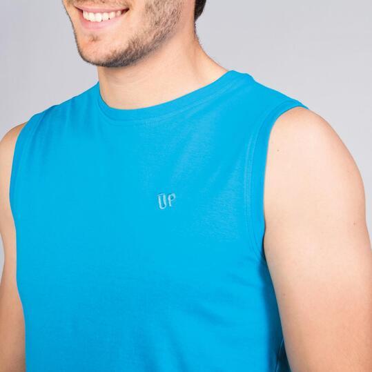 Camiseta Sin Mangas UP BASIC Azul Cyan Hombre