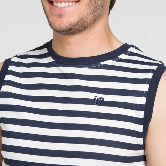 Camiseta Rayas UP BASIC Blanco Marino Hombre