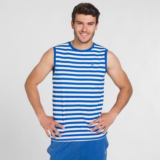 Camiseta Rayas UP BASIC Blanco Azul Hombre