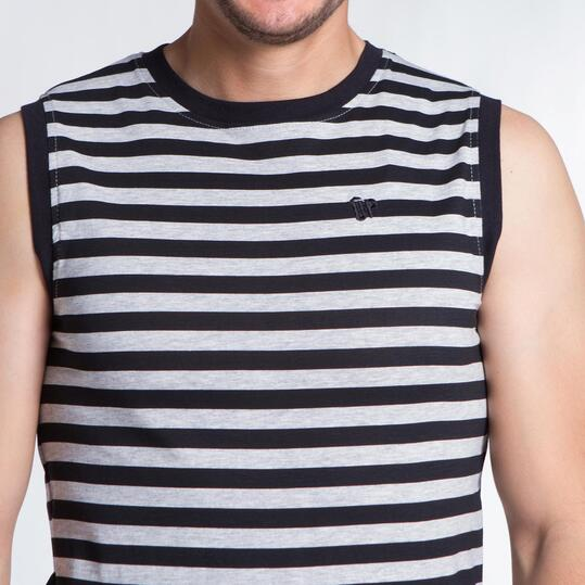 Camiseta Rayas UP BASIC Gris Negro Hombre