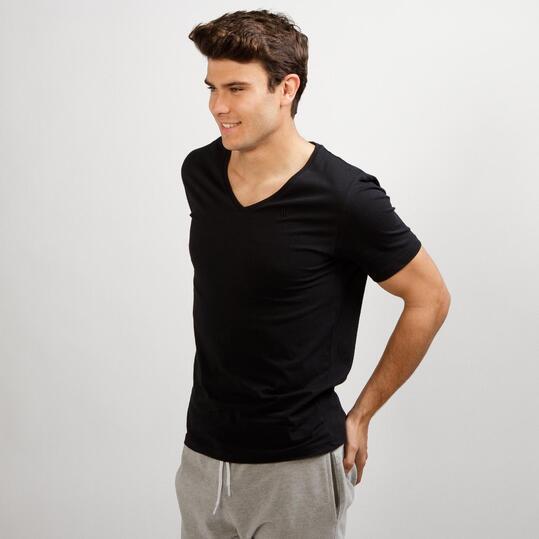 Camiseta Pico UP BASIC Negra Hombre