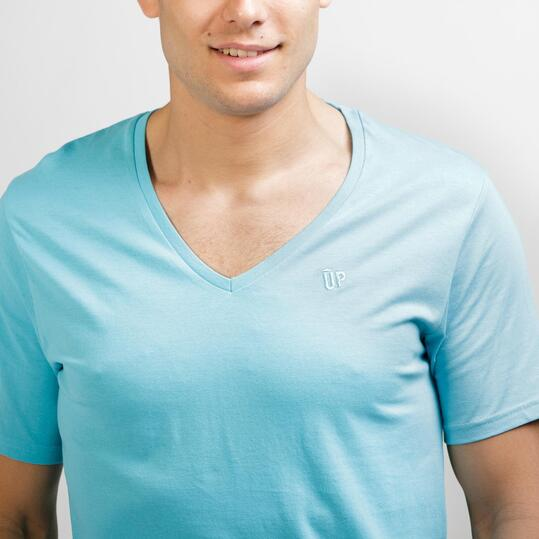 Camiseta Pico UP BASIC Celeste Hombre