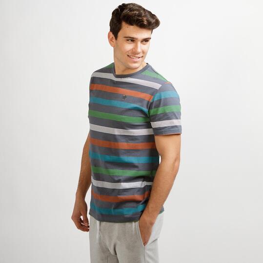 Camiseta Rayas UP BASIC Gris Hombre