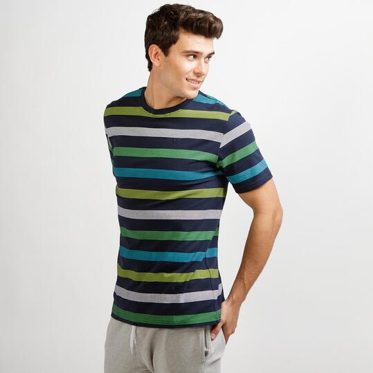 Camiseta Rayas UP BASIC Marino Hombre