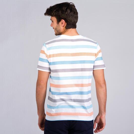Camiseta Rayas UP BASIC Blanco Hombre