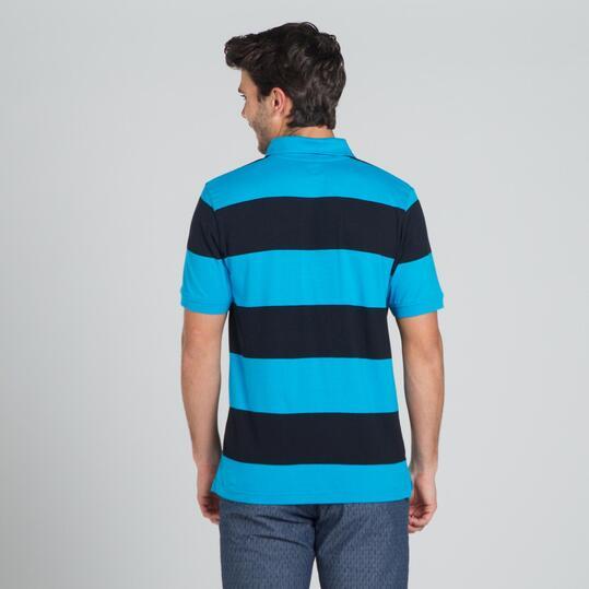 Polo Rayas UP BASIC Azul Negro Hombre