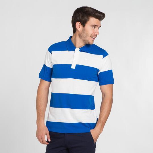 Polo Rayas UP BASIC Blanco Azul Hombre