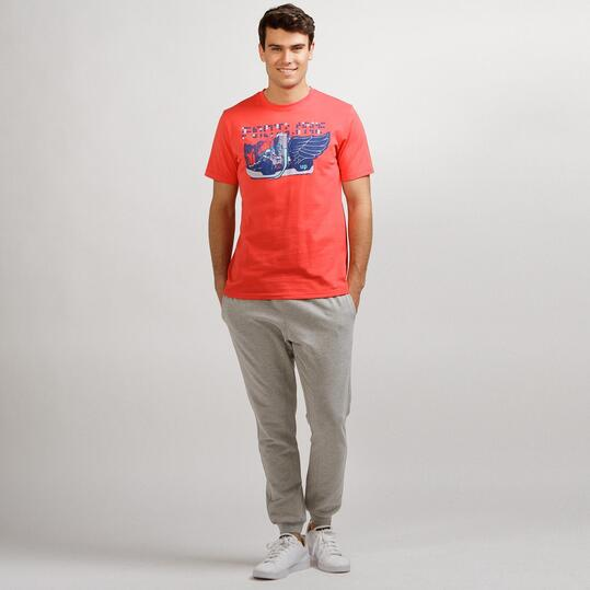 Camiseta Casual UP STAMPS Coral Hombre