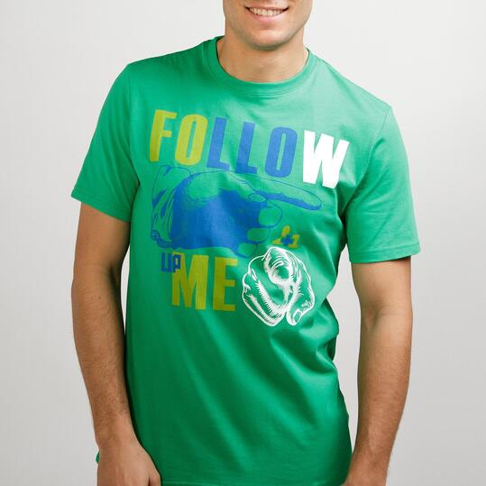 Camiseta Casual UP STAMPS Verde Hombre