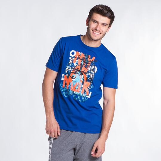 Camiseta Manga Corta UP STAMPS Azul Hombre