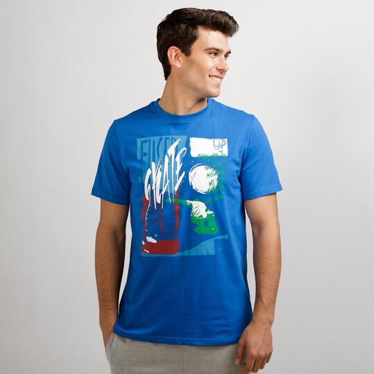 Camiseta Casual UP STAMPS Azul Hombre
