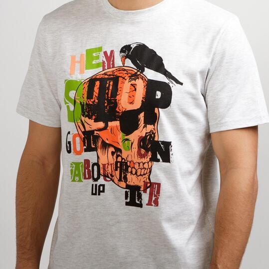 Camiseta Casual UP STAMPS Blanco Hombre