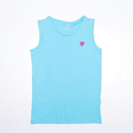 Camiseta Sin Mangas UP BASICS Celeste (10-16)