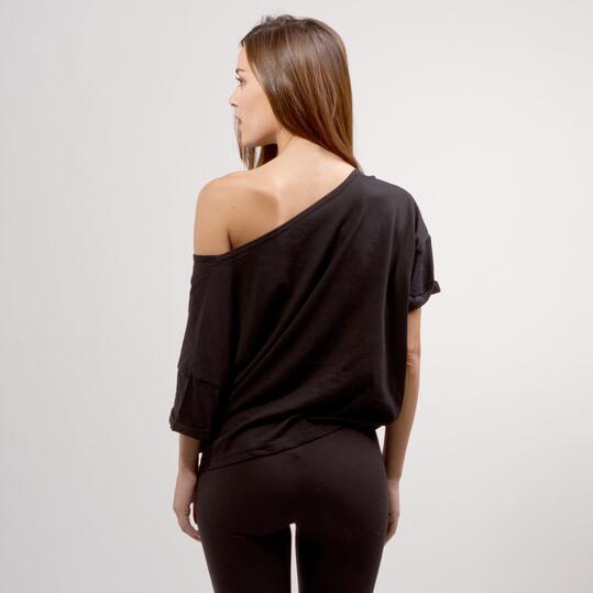 Camiseta Nudo Cintura SILVER BASIC Negro Mujer