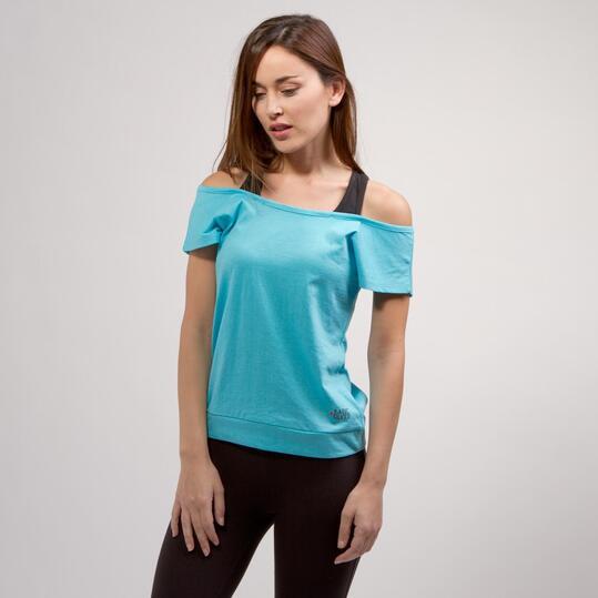 Camiseta Doble SILVER BASIC Celeste Negro Mujer