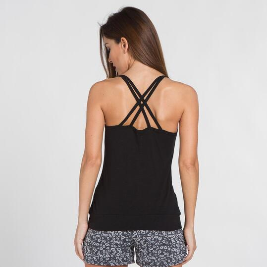Camiseta Tirante Cruzado SILVER Negro Mujer