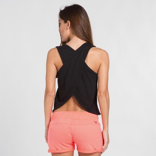 Camiseta Tirante Ancho SILVER Negro Mujer