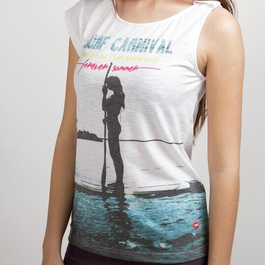 Camiseta Casual UP STAMPS Blanco Mujer
