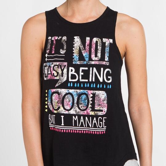 Camiseta Espalda Abierta SILVER Negro Mujer