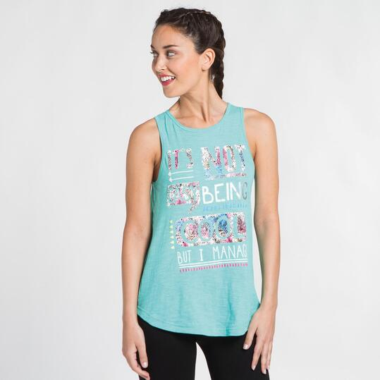 Camiseta Espalda Abierta SILVER Turquesa Mujer