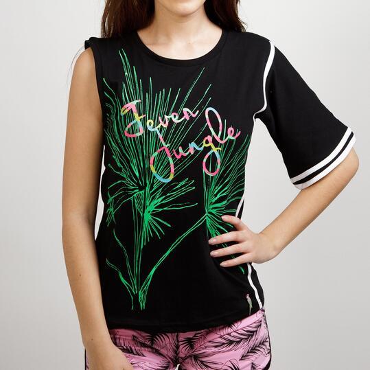 Camiseta Asimétrica SILVER SELVA Negro Mujer