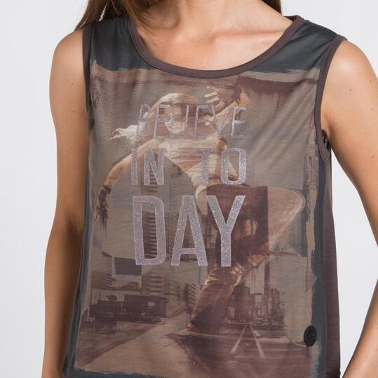 Camiseta Tirante Ancho SILVER Gris Mujer