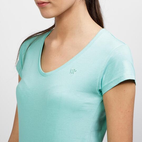 Camiseta Cuello Pico UP BASIC Turquesa Mujer