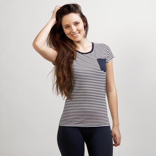 Camiseta Rayas UP BASIC Marino Mujer