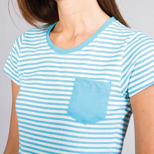 Camiseta Rayas UP BASIC Celeste Mujer