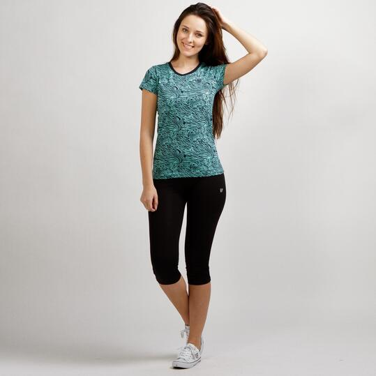 Camiseta Estampada UP BASIC Turquesa Mujer