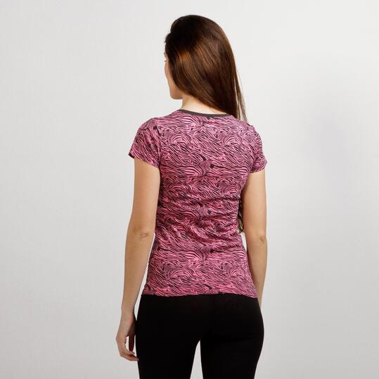 Camiseta Estampada UP BASIC Rosa Mujer