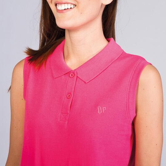 Polo Sin Mangas UP STAMPS Fucsia Mujer