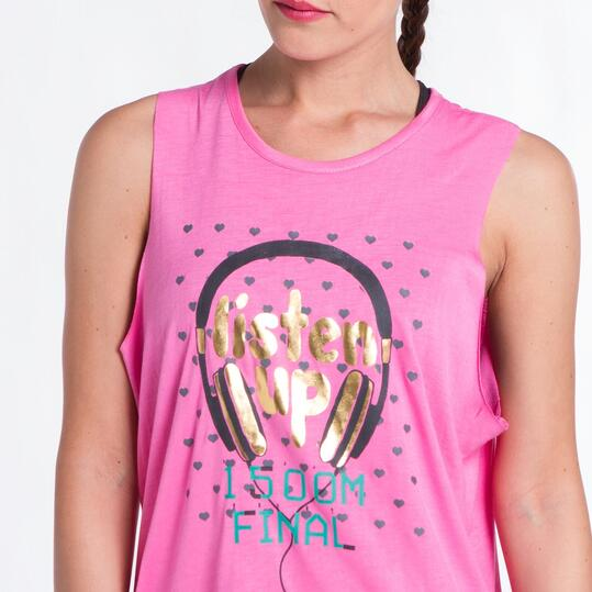 Camiseta Corta UP STAMPS Rosa Mujer