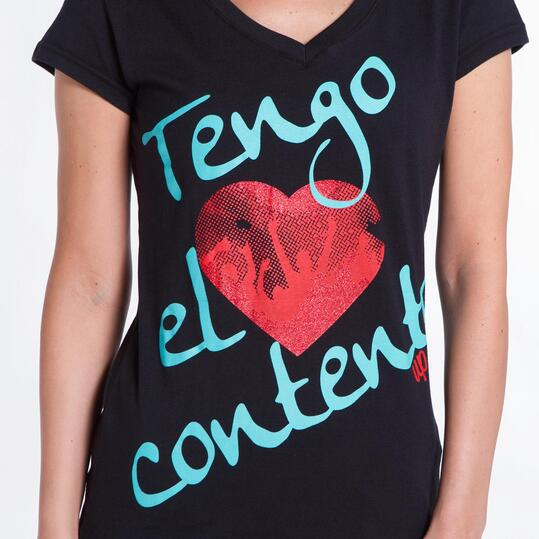 Camiseta Negra UP STAMPS Corazón Mujer