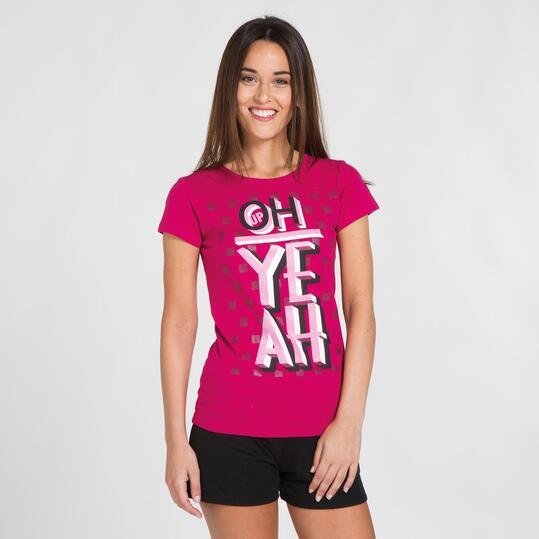 Camiseta Manga Corta UP STAMPS Fucsia Mujer