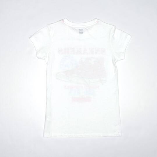 Camiseta Casual UP STAMPS Blanco Niña (10-16)