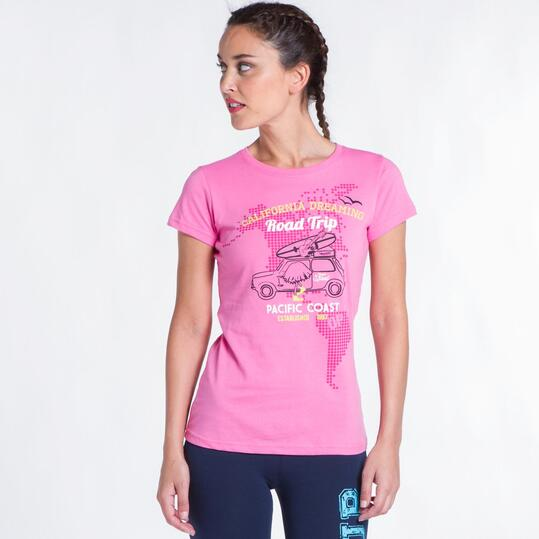 Camiseta Rosa UP STAMPS Coche Mujer