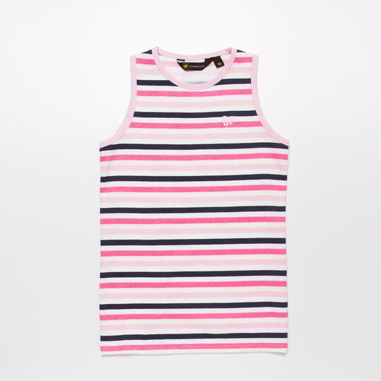 Camiseta Tirantes Rayas UP BASIC Rosa Niña (10-16)