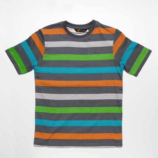 Camiseta  Rayas UP BASIC Gris Niño (10-16)