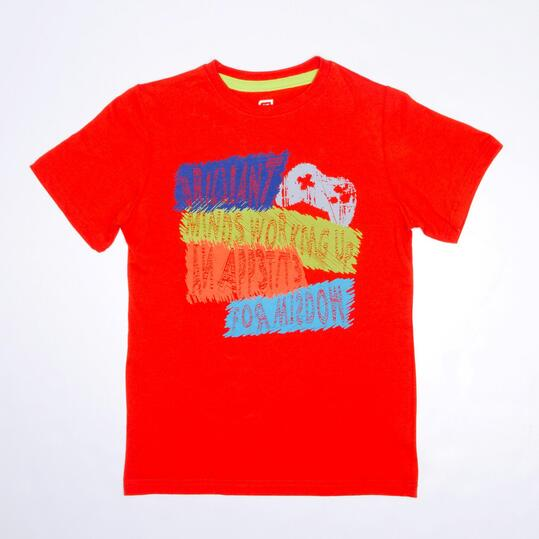Camiseta Manga Corta UP STAMPS Rojo Niño (10-16)